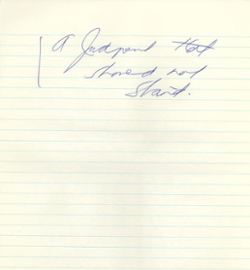 "Diefenbaker's note that reads ""A judgement that should not stand"""