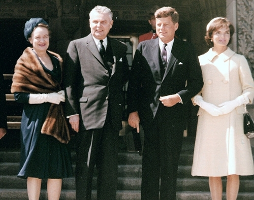 John G. Diefenbaker and Olive Diefenbaker with the Kennedys