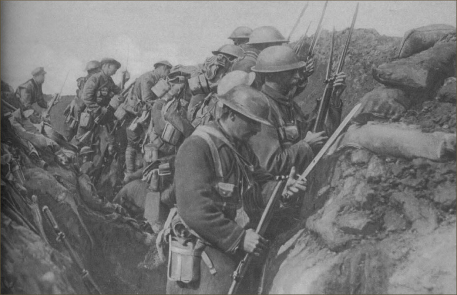 Canadian Soldiers fixing bayonets before an attack on the Somme
