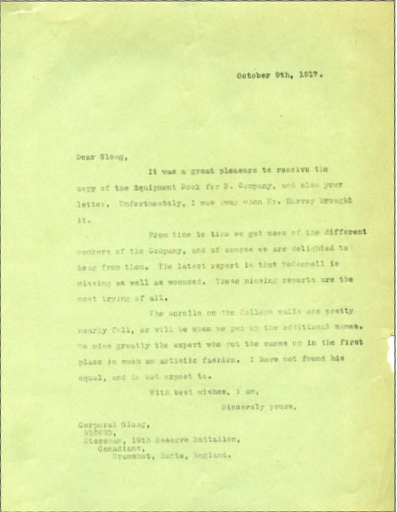 Letter from President Walter Murray to Corp. Gloag,