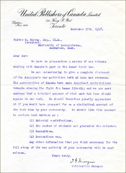 Letter from President Walter Murray to T.G. Marquis of United Publishers of Canada