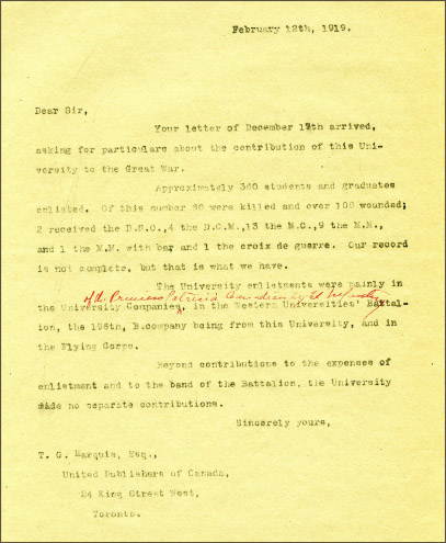 Letter from T.G. Marquis of United Publishers of Canada, to President Walter Murray,