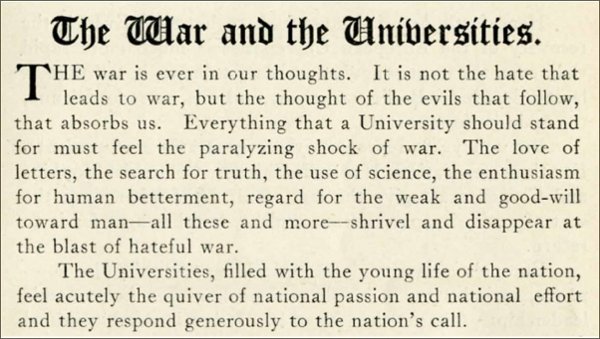 The War and the Universities,