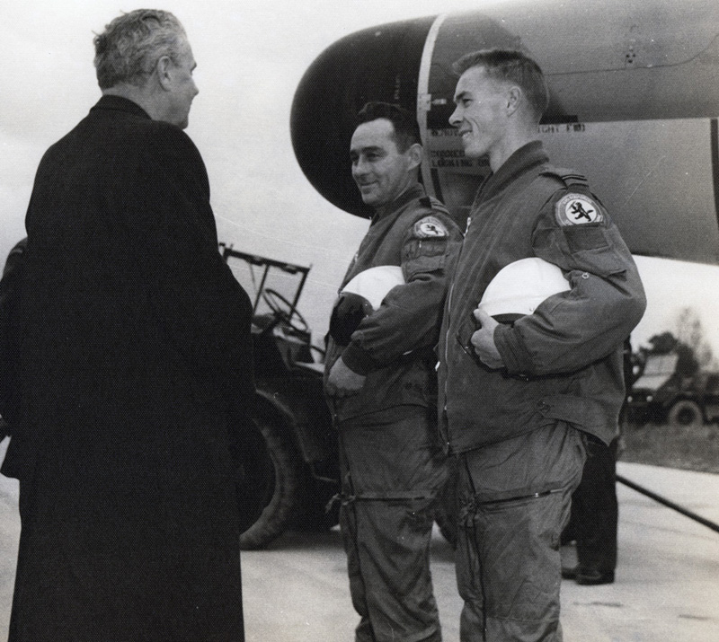 John Diefenbaker speaking with fighter pilots