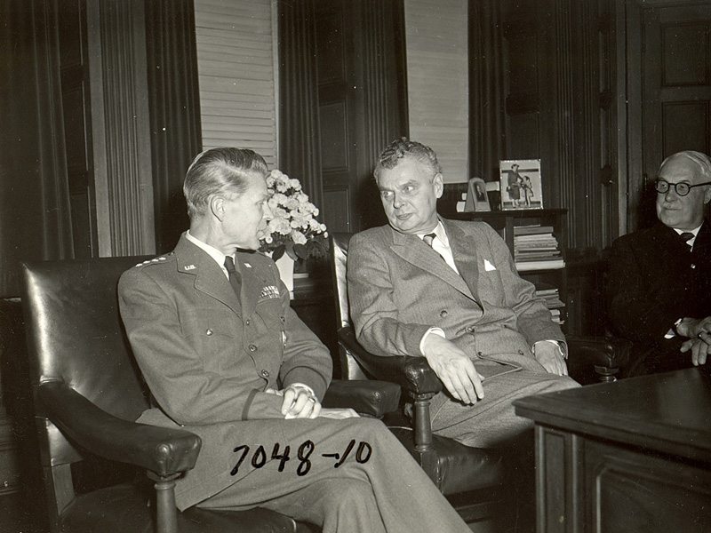 John Diefenbaker with George Pearkes and General Lauris Norstad