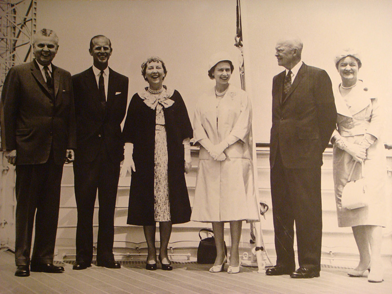 John and Olive Diefenbaker with Dwight and Mamie Eisenhower and Queen Elizabeth II and Prince Philip