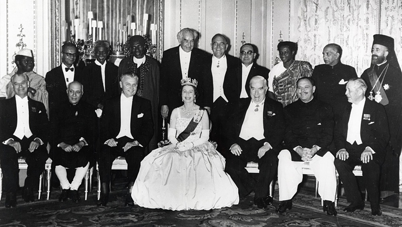 Queen Elizabeth II with representatives of the Commonwealth Prime Ministers Conference