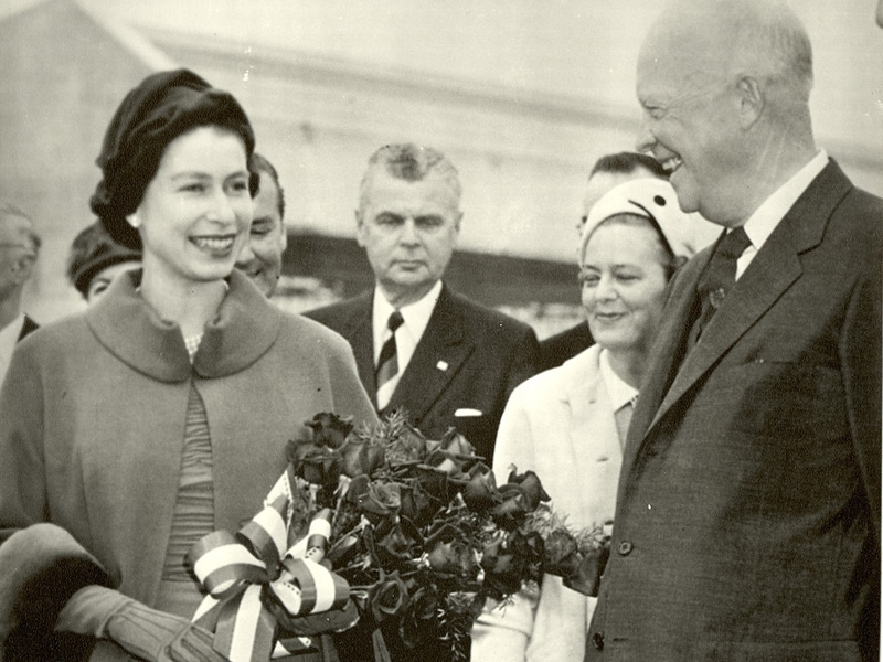 Queen Elizabeth II and Dwight Eisenhower with John Diefenbaker
