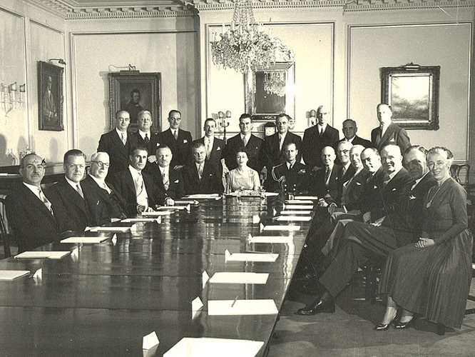 John Diefenbaker, Vincent Massey and the Cabinet with Queen Elizabeth II and Prince Philip