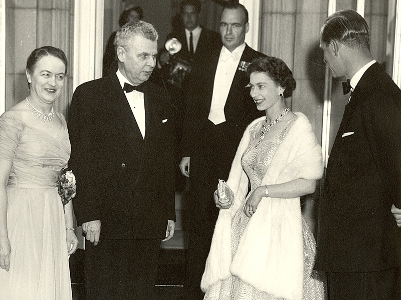 Queen Elizabeth and Prince Philip with John and Olive Diefenbaker